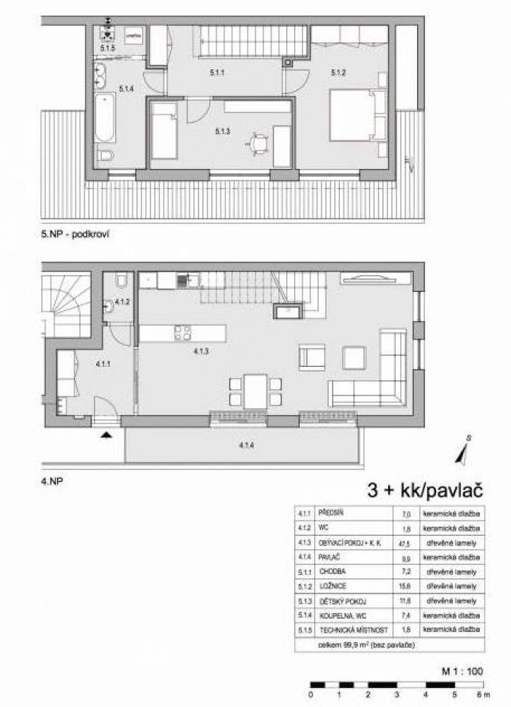 Půdorys - Půdní byt 3+kk, plocha 110 m², ulice Lumírova, Praha 2 - Vyšehrad