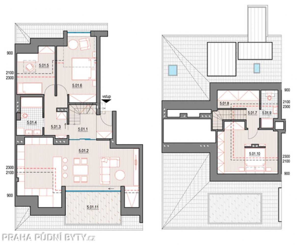 Půdorys - Půdní byt 4+kk, plocha 137 m², ulice Nad Závěrkou, Praha 6 - Břevnov