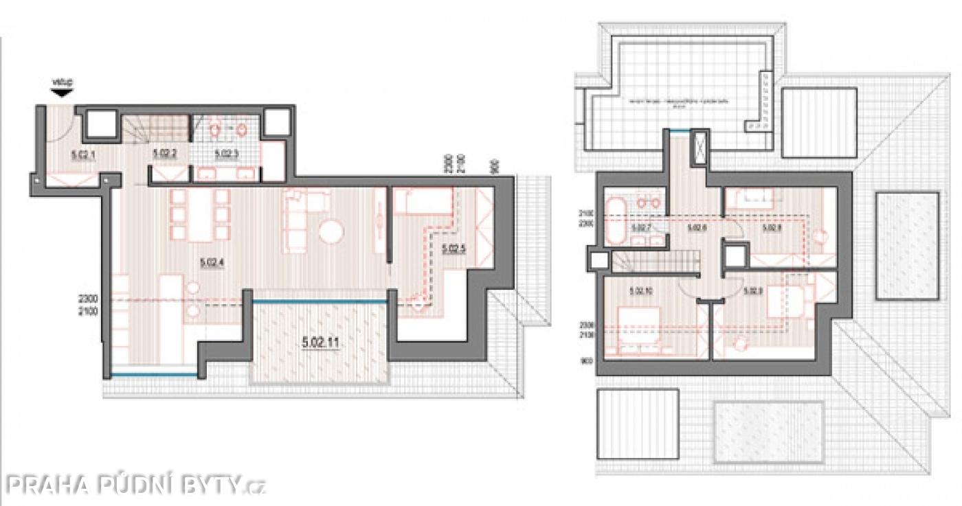 Půdorys - Půdní byt 5+kk, plocha 185 m², ulice Nad Závěrkou, Praha 6 - Břevnov