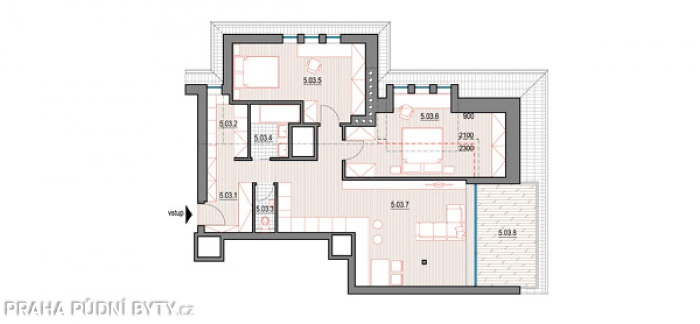 Půdorys - Půdní byt 3+kk, plocha 118 m², ulice Nad Závěrkou, Praha 6 - Břevnov