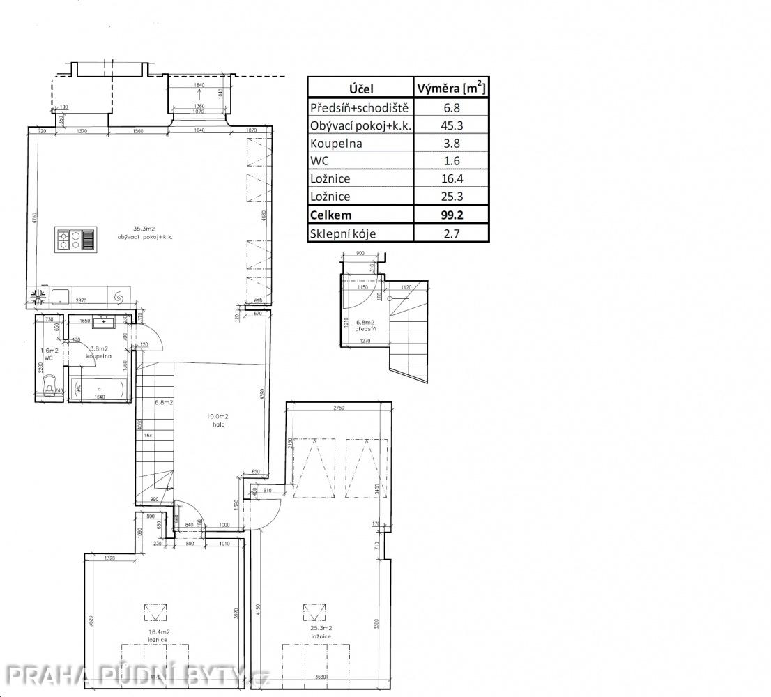 Půdorys - Půdní byt 3+kk, plocha 101 m², ulice Národní Obrany, Praha 6 - Dejvice