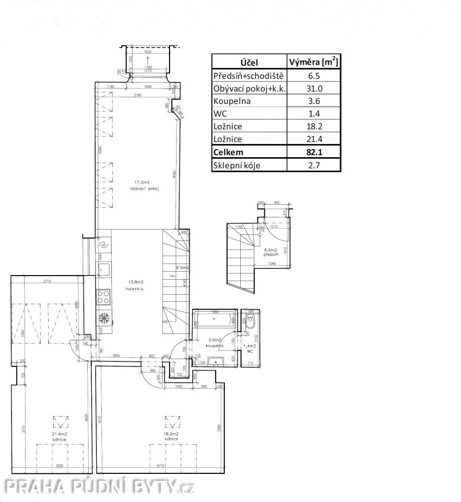 Půdorys - Půdní byt 3+kk, plocha 85 m², ulice Národní Obrany, Praha 6 - Dejvice