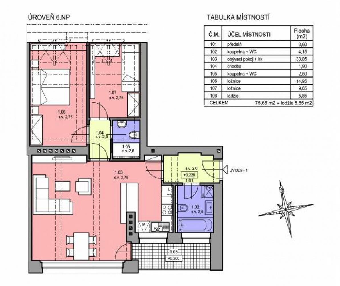 Půdorys - Půdní byt 3+kk, plocha 76 m², ulice U Vody, Praha 7 - Holešovice