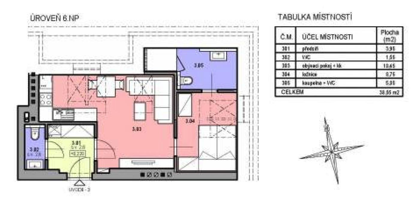 Půdorys - Půdní byt 2+kk, plocha 39 m², ulice U Vody, Praha 7 - Holešovice