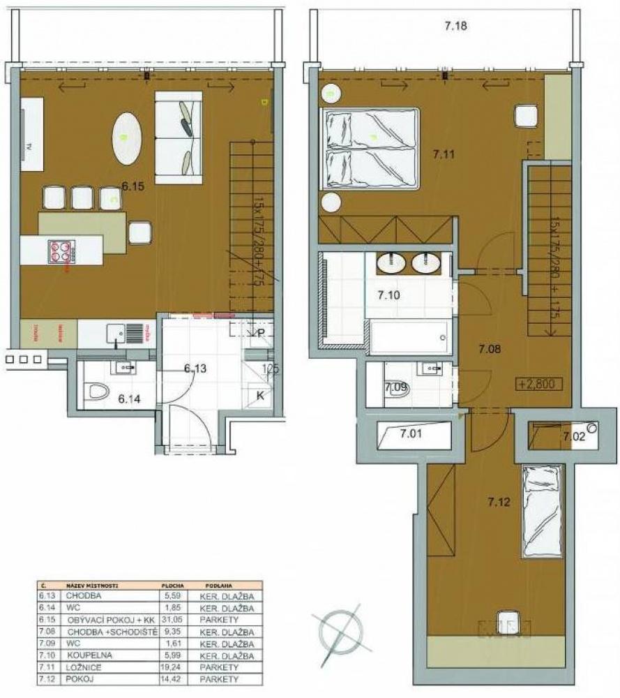 Půdorys - Půdní byt 3+kk, plocha 99 m², ulice Šmilovského, Praha 2 - Vinohrady