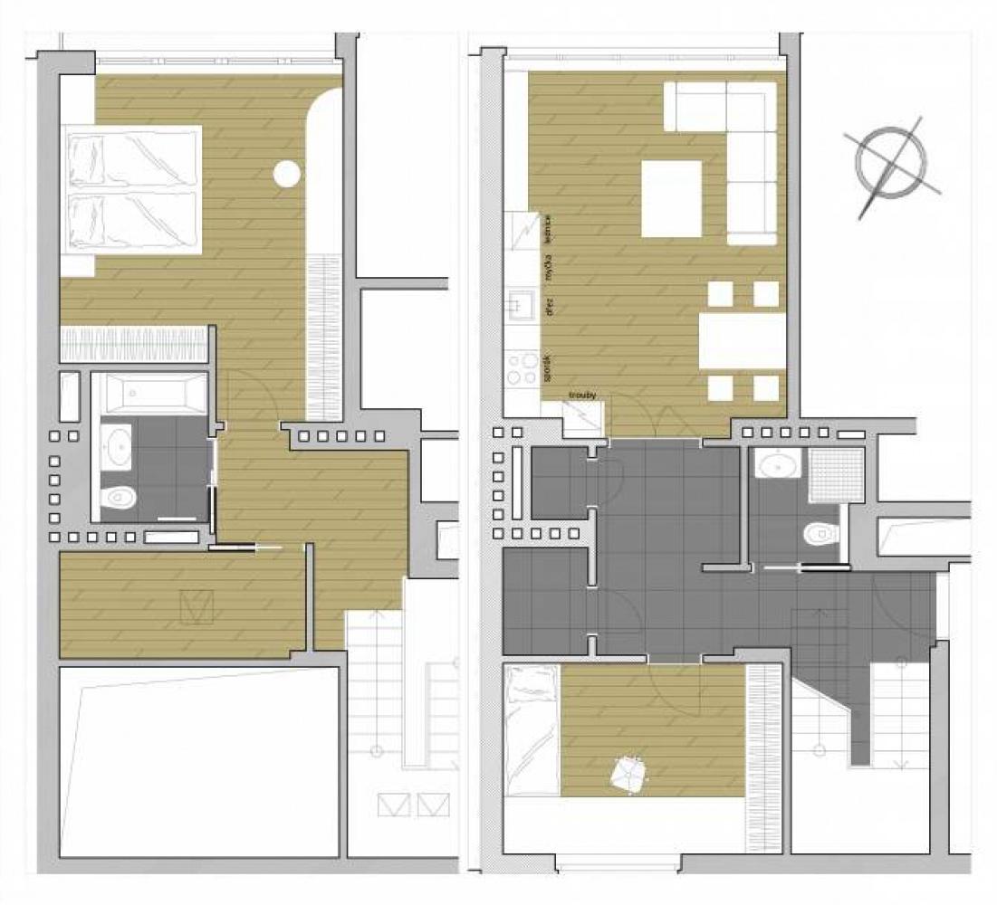 Půdorys - Půdní byt 3+kk, plocha 113 m², ulice Šmilovského, Praha 2 - Vinohrady