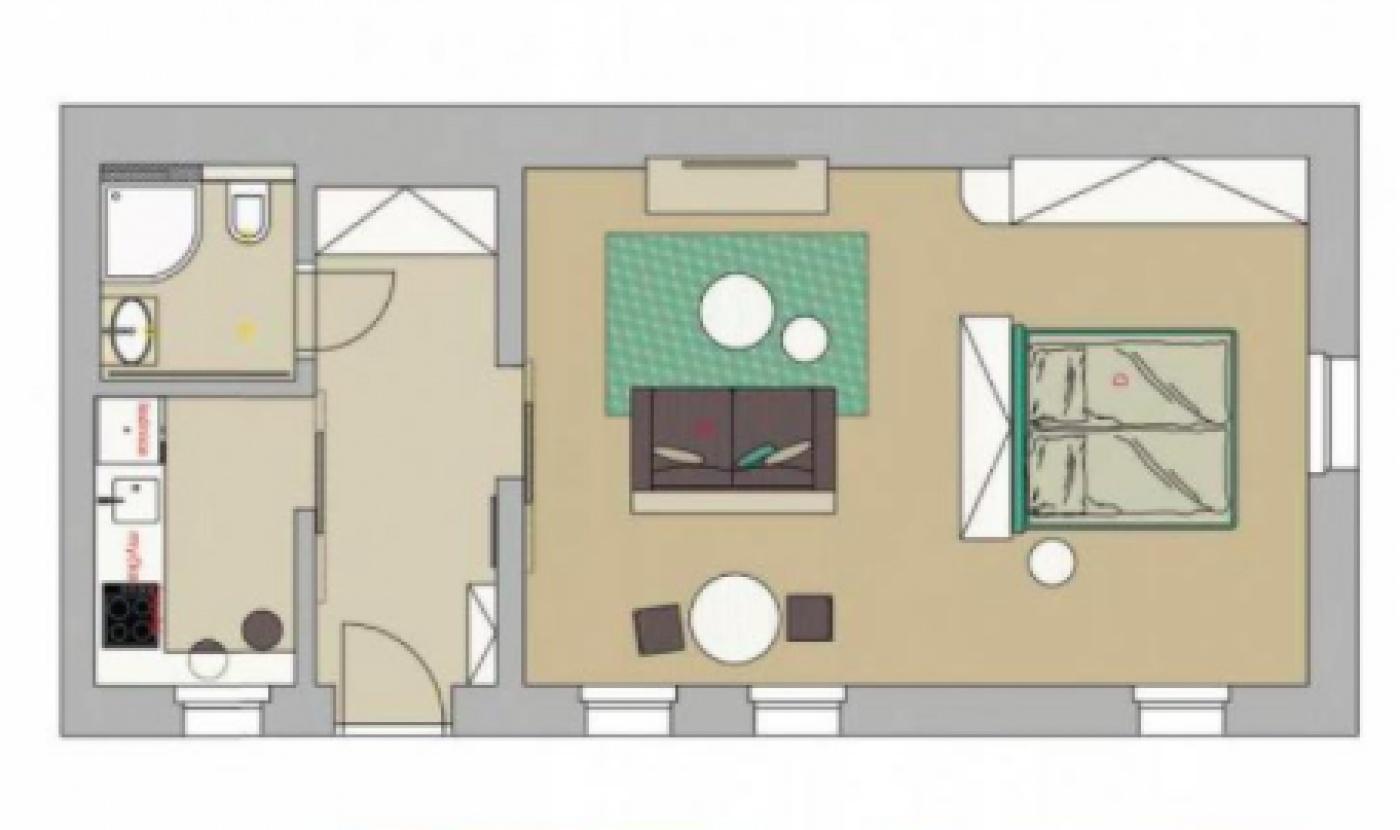 Půdorys - Půdní byt 1+1, plocha 48 m², ulice Lumírova, Praha 2 - Vyšehrad