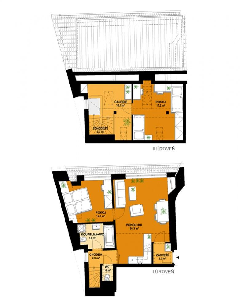 Půdorys - Půdní byt 3+kk, plocha 88 m², ulice Vratislavova, Praha 2 - Vyšehrad